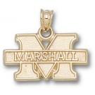 "Marshall Thundering Herd New ""M Marshall"" 7/16"" Pendant - 14KT Gold Jewelry"
