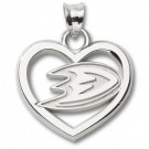 "Anaheim Ducks 5/8"" Pierced Heart with Foot Logo Pendant - Sterling Silver Jewelry"