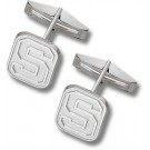 """Michigan State Spartans Oval Block """"S"""" Sterling Silver Cuff Links - 1 Pair"""