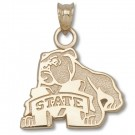 "Mississippi State Bulldogs 5/8"" Bulldog and ""M State"" Pendant - Sterling Silver Jewelry"