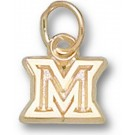 "Miami (Ohio) RedHawks New Outlined ""M"" 1/4"" Charm - 14KT Gold Jewelry"