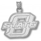 "Oklahoma State Cowboys New Block ""O State"" 5/8"" Pendant - Sterling Silver Jewelry"