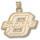 "Oklahoma State Cowboys New Block ""O State"" 5/8"" Pendant - 14KT Gold Jewelry"
