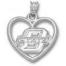 "Oklahoma State Cowboys ""O State"" Heart Pendant - Sterling Silver Jewelry"