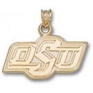 "Oklahoma State Cowboys ""OSU"" 1/2"" Pendant - 14KT Gold Jewelry"