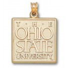 "Ohio State Buckeyes ""The Ohio State University"" Square Pendant - 14KT Gold Jewelry"