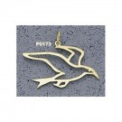 """Sea Gull Outline"" 1"" Charm - 14KT Gold Jewelry"