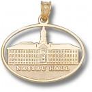"Princeton Tigers Pierced Oval ""Nassau Hall"" Pendant - 10KT Gold Jewelry"