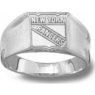 "New York Rangers ""Shield Logo"" 3/8"" Ladies' Ring Size 6 1/2 - Sterling Silver Jewelry"