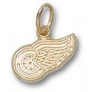 "Detroit Red Wings ""Wing Logo"" 1/4"" Charm - 14KT Gold Jewelry"