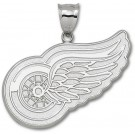 "Detroit Red Wings Giant 2"" W x 1 5/8"" H ""Wing Logo"" Pendant - Sterling Silver Jewelry"