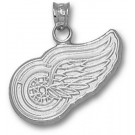 "Detroit Red Wings ""Wing Logo"" 5/8"" Pendant - Sterling Silver Jewelry"