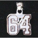 """Small 1/2"""" Double Number with No Bar Polished Pendant - Sterling Silver Jewelry"""