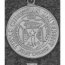 """Texas Christian Horned Frogs """"Seal"""" 1"""" Pendant - Sterling Silver Jewelry"""