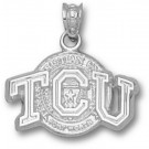 """Texas Christian Horned Frogs """"TCU with Seal"""" Pendant - Sterling Silver Jewelry"""