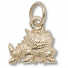 "Texas Christian Horned Frogs 7/16"" Horned Frog Charm - 10KT Gold Jewelry"