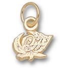 "Temple Owls ""Owl"" Charm - 14KT Gold Jewelry (3/8"" W x 1/4"" H)"