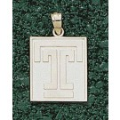 """Temple Owls Square """"T"""" 5/8"""" Pendant - 14KT Gold Jewelry"""