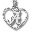 "Alabama Crimson Tide Script ""A Heart"" Pendant - Sterling Silver Jewelry"