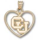 "Colorado Buffaloes ""CU"" Heart Pendant - 14KT Gold Jewelry"