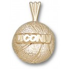 "Connecticut Huskies 1/8"" ""UConn Basketball"" Pendant - 14KT Gold Jewelry"