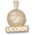 "Connecticut Huskies 3/16"" ""UConn Basketball"" Pendant - 14KT Gold Jewelry"
