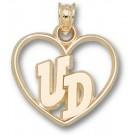 "Dayton Flyers ""UD"" Heart Pendant - 14KT Gold Jewelry"