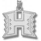 "Hawaii Rainbow Warriors ""H Logo"" 3/4"" Pendant - Sterling Silver Jewelry"
