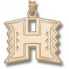 "Hawaii Rainbow Warriors ""H Logo"" 3/4"" Pendant - 14KT Gold Jewelry"