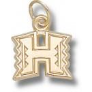 "Hawaii Rainbow Warriors 3/8"" ""H"" Charm - 10KT Gold Jewelry"