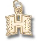 "Hawaii Rainbow Warriors ""H Logo"" 3/8"" Charm - 14KT Gold Jewelry"