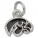 "Iowa Hawkeyes 1/4"" Tiger Hawk Enameled Charm - Sterling Silver Jewelry"