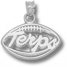 "Maryland Terrapins Pierced ""Terps Football"" Pendant - Sterling Silver Jewelry"
