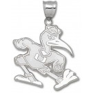 "Miami Hurricanes New Giant 1 1/2"" W x 1 1/2"" H ""Fighting Ibis"" Pendant - Sterling Silver Jewelry"