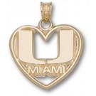 """Miami Hurricanes """"U Miami Heart"""" Pendant - 10KT Gold Jewelry"""