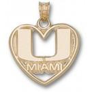 "Miami Hurricanes ""U Miami"" Heart Pendant - 14KT Gold Jewelry by"