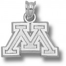 "Minnesota Golden Gophers Block ""M"" Pendant - Sterling Silver Jewelry"