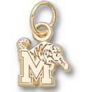 """Memphis Tigers """"M Tiger"""" 1/4"""" Charm - 14KT Gold Jewelry"""