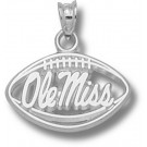 """Mississippi (Ole Miss) Rebels Pierced """"Ole Miss Football"""" Pendant - Sterling Silver Jewelry"""