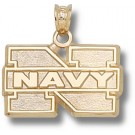 "Navy Midshipmen ""N Navy"" 1/2"" Pendant - 14KT Gold Jewelry"