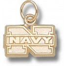 "Navy Midshipmen ""N Navy"" 5/16"" Charm - 14KT Gold Jewelry"