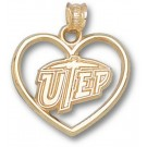 "Texas (El Paso) Miners ""UTEP and Heart"" Pendant - 14KT Gold Jewelry"