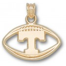 "Tennessee Volunteers ""T Pierced Football"" Pendant - Gold Plated Jewelry"
