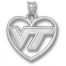 "Virginia Tech Hokies ""VT"" Heart Pendant - Sterling Silver Jewelry"