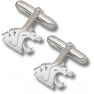 "Washington State Cougars 9/16"" ""WSU Cougar Head"" Sterling Silver Cuff Links - 1 Pair"