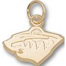 """Minnesota Wild """"Wild Cat Logo"""" 3/8"""" Charm - 14KT Gold Jewelry"""