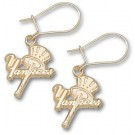 "New York Yankees ""Yankees Bat / Hat"" Dangle Earrings - 14KT Gold Jewelry"