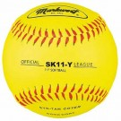 "11"" Synthetic Leather Cover Yellow Softballs from Markwort - One Dozen"