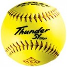 "12"" .47 Core Thunder SY Red Stitch Synthetic Yellow Softballs from Dudley - One Dozen"
