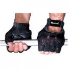 Black Leather Palm Weight Lifting Gloves from Markwort - 1 Pair